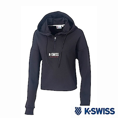 K-SWISS Hooded Sweat Half Zip up時尚連帽上衣-女-黑