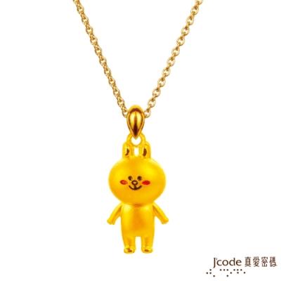 (無卡分期6期)J code真愛密碼  LINE兔兔好幸福黃金項鍊(立體硬金款)