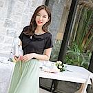 優雅造型領拼接綴飾純色短袖上衣-OB嚴選