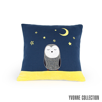 Yvonne Collection 貓頭鷹夜空抱枕45x45cm-深藍