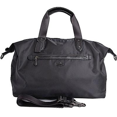 COACH 立體馬車LOGO尼龍真皮飾邊手提/斜背旅行袋行李包-經典黑