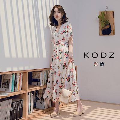 東京著衣-KODZ 清甜佳人滿版花朵縮腰蛋糕洋裝-S.M.L(共兩色)