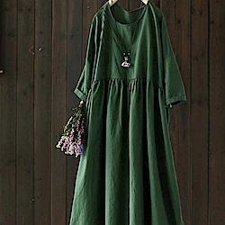 風琴褶重磅苧麻棉麻長洋裝-設計所在