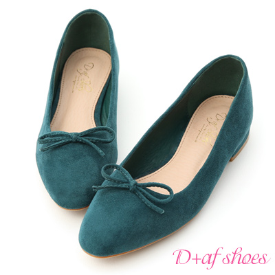D+AF 芭蕾女伶.小尖頭絨料芭蕾娃娃鞋*綠