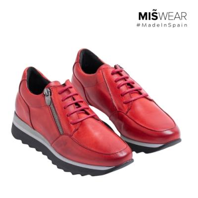 MARILA 真皮拉鍊休閒鞋-紅色