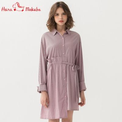 Hana-Mokuba-花木馬日系女裝氣質條紋襯衫洋裝_中粉/中藍