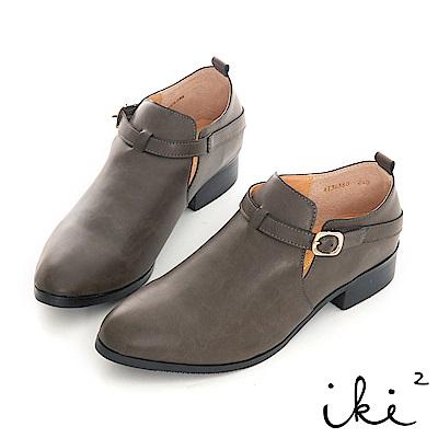 iki2 內真皮 氣質單扣造型粗跟鞋-深灰