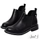 Ann'S時尚街拍-前低顯瘦鬆緊切爾西平底短靴-黑 product thumbnail 1