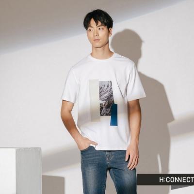 H:CONNECT 韓國品牌 男裝-紋路色塊拼接短T-白