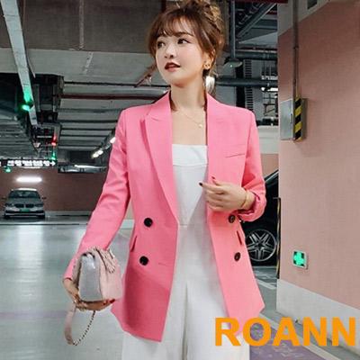 小清新翻領雙排扣西裝外套 (共四色)-ROANN