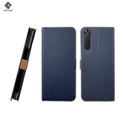 CASE SHOP SONY Xperia 5 II 專用經典皮革側立式皮套-藍