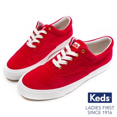 Keds ANCHOR 燈芯絨綁帶休閒鞋-紅