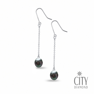 City Diamond引雅 【手作設計系列 】天然水滴珍珠長掛鍊型耳環