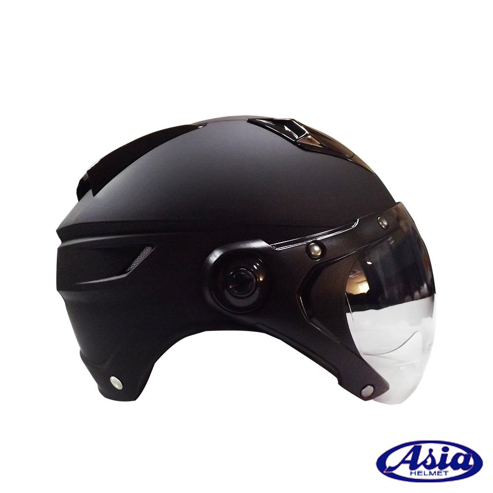 ASIA A613 復古W型飛行鏡面安全帽 平黑