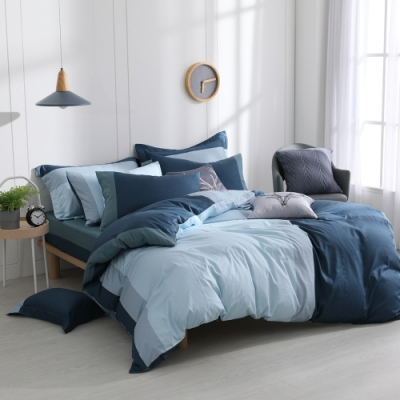 OLIVIA  羅伯特 藍 加大雙人床包冬夏兩用被套四件組 200織精梳純棉 台灣製