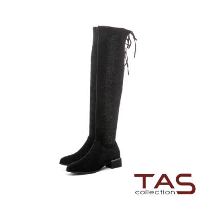 TAS閃耀水鑽彈力絨布過膝靴-經典黑