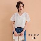 東京著衣-KODZ 優雅蕾絲雕花設計短袖上衣-S.M(共二色)