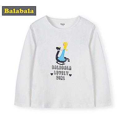 Balabala巴拉巴拉-木馬女孩圖案棉質長袖T恤-女(3色)