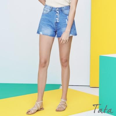 刷破不收邊排扣牛仔短褲 TATA