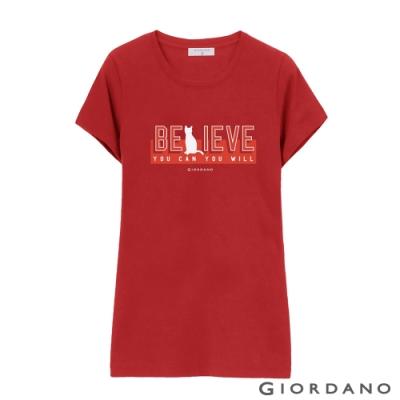 GIORDANO 女裝棉質圓領標語印花T恤-  16 高貴紅