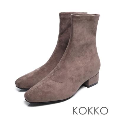 KOKKO - 時尚新寵兒方頭粗跟襪靴 - 灰色