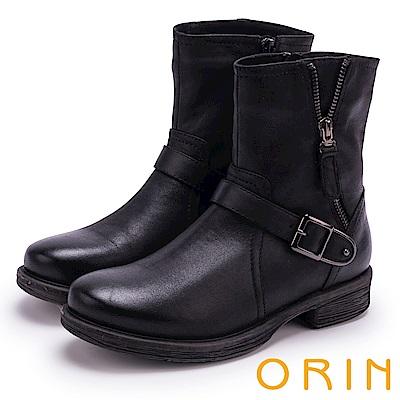 ORIN 個性街頭帥氣 復古蠟染率性拉鍊飾釦短靴-黑色
