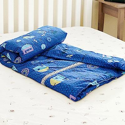 米夢家居-原創夢想家園系列-台灣製造100%精梳純棉兩用被套-深夢藍-單人