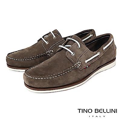 TINO BELLINI 男款牛麂皮撞色鞋帶休閒帆船鞋-綠