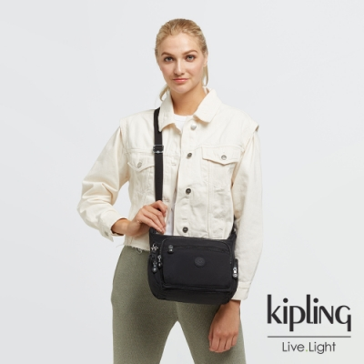 Kipling 曜岩黑品牌經典圓標多袋實用側背包-GABBIE S