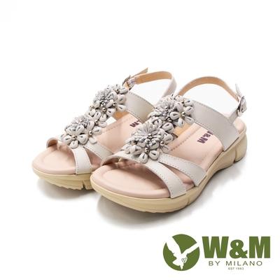 W&M(女)MIT皮釦帶 厚底彈力涼鞋 女鞋-米白(另有紫粉)