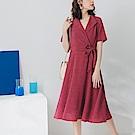 純色不易皺綁帶設計V領洋裝-OB嚴選