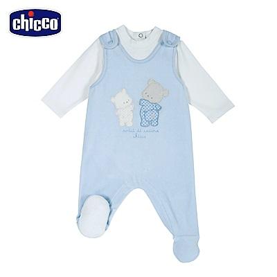 chicco-寶貝熊系列-剪毛絨連腳背心褲套裝-藍(3-12個月)