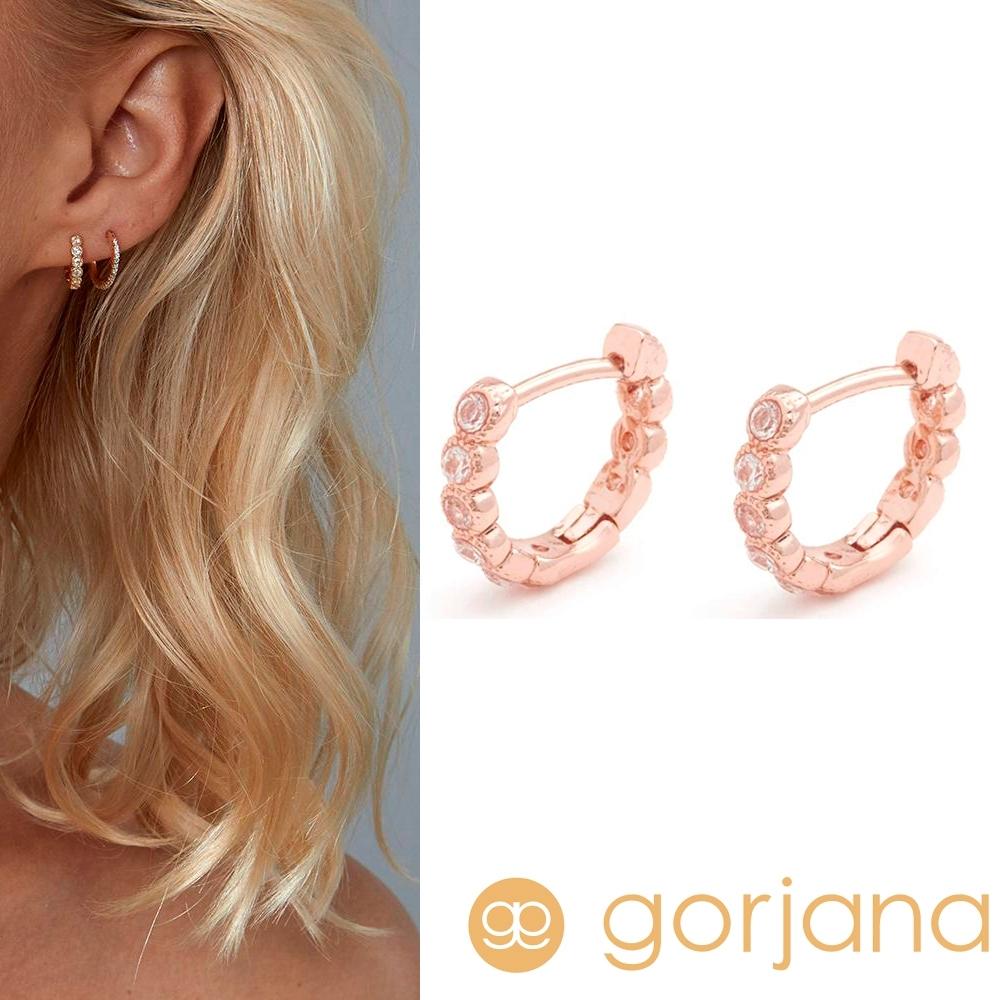 GORJANA Madison Shimmer 迷你小圓耳環 C型鑲鑽耳環 玫瑰金