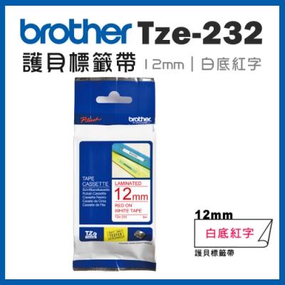 Brother TZe-232 護貝標籤帶 ( 12mm 白底紅字 )