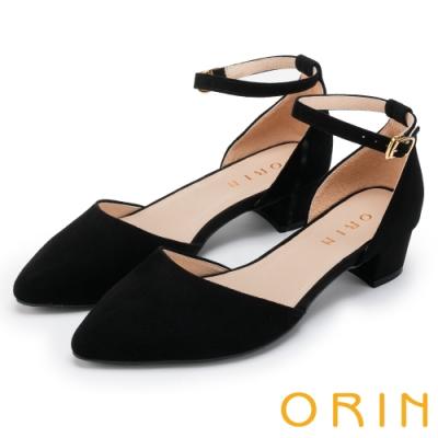 ORIN 時尚名媛 素面繫踝金屬釦帶尖頭粗跟鞋-絨黑