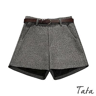 拉鍊毛呢短褲(附腰帶) 共二色 TATA