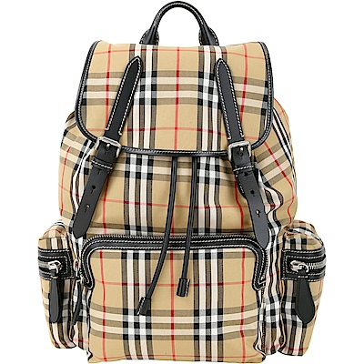 (無卡分期12期)BURBERRY The Rucksack Vintage大型格紋後背包