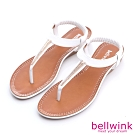 bellwink-日系金屬T字夾腳涼鞋-白-b9802we