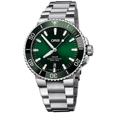 ORIS 豪利時 Aquis 潛水機械腕錶-綠43.5mm