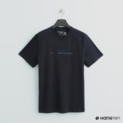 Hang Ten - 女裝 - 有機棉-簡約logo純色棉短T - 深灰