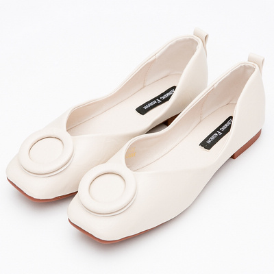 River&Moon時尚都會超Q軟圓扣方頭娃娃鞋-杏
