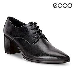ECCO SHAPE 45 POINTY 時尚尖頭繫帶方跟高跟鞋 女-黑