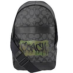 COACH塗鴉LOGO經典PVC單肩後背包