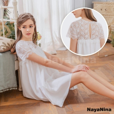 Naya Nina 公主蕾絲袖雪紡美背居家洋裝睡衣-白F