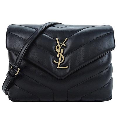 YSL Saint Laurent 金LOGO牛皮Y字縫線翻小斜背包(黑)