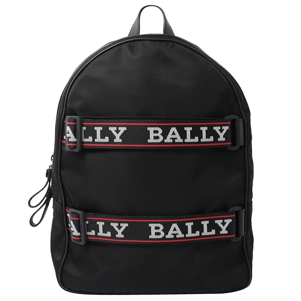 BALLY織帶LOGO裝飾尼龍拉鍊後背包(黑)