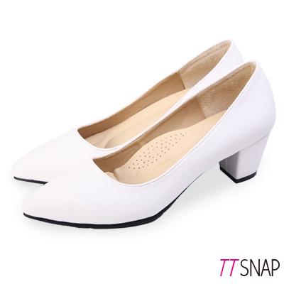 TTSNAP中跟鞋-MIT高雅修長粗跟尖頭鞋 白