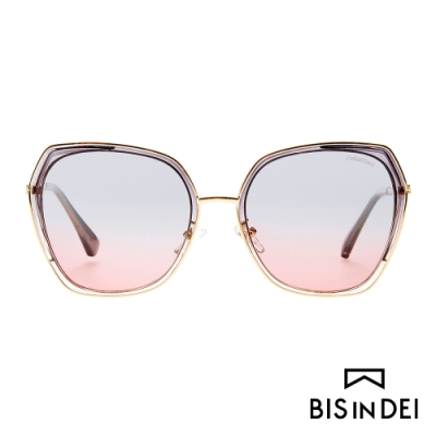 BIS IN DEI 金屬多角形側邊加厚框太陽眼鏡-灰