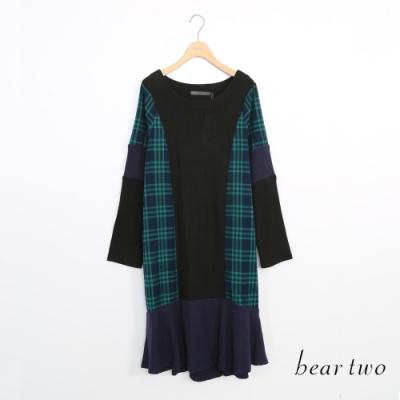 beartwo-假兩件拼接格紋洋裝-黑