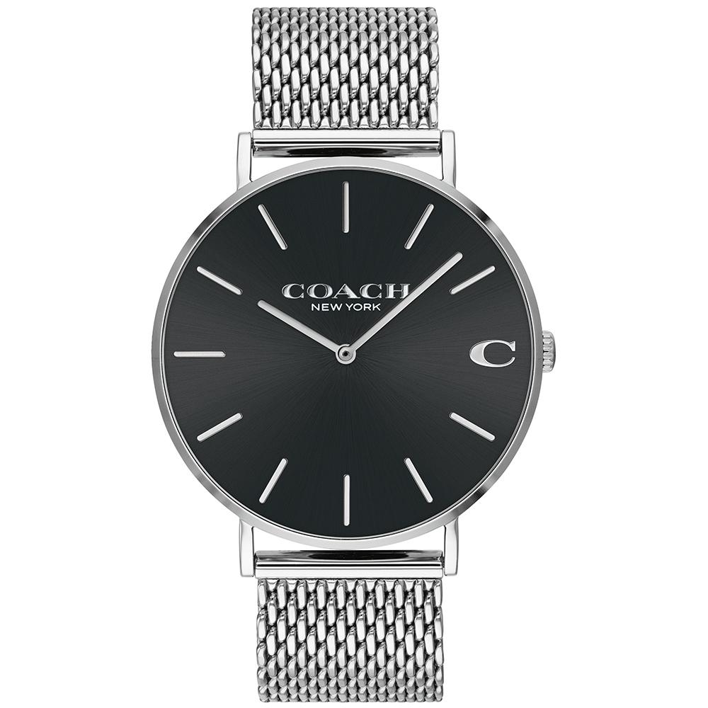 COACH 極簡黑米蘭錶帶手錶-41mm(14602144)